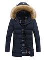 Men's Quilted Jacket Deep Blue Hooded Long Sleeve Slim Fit Winter Jacket 4292