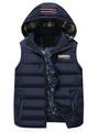 Blue Quilted Vest Jacket Men's Hooded Zip Up Slim Fit Sleeveless Winter Jacket 4292