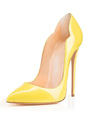 Yellow High Heels 2018 Women Pointed Toe Patent PU Stiletto Sky High Slip On Pumps 4292