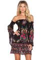 Black Skater Dress Floral Printed Off The Shoulder Bell Long Sleeve Slim Fit Sheath Dress 4292