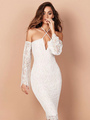White Party Dress Halter Long Sleeve Lace Off The Shoulder Bodycon Dresses For Women 4292