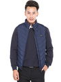 Men's Quilted Coat Hooded Royal Blue Stand Collar Sleeveless Zip Up Vest Coat 4292