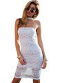 White Party Dress Lace Halter Sleeveless Sexy Bodycon Dresses For Women 4292