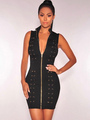 Black Party Dress High Collar Sleeveless Lace Up Bodycon Dresses For Women 4292