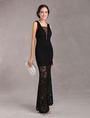 Black Long Dress Lace V Neck Sleeveless Patchwork Illusion Mermaid Women's Evening Dresses 4292