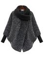 Grey Cocoon Coat Asymmetrical Neckline Tweed Rib Knit Cuff Long Sleeve Women's Stylish Winter Coat 4292