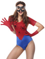 Women's Spiderman Costume Halloween Red Jumpsuit With Gloves And Mask 4292