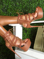 Brown Gladiator Sandals Open Toe Stiletto Heel Summer Sandals Women High Heel Sandal Shoes 4292