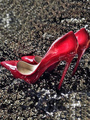 Red High Heels Stiletto Heel Pointed Toe PU Slip On Pumps For Women 4292
