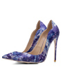 Women High Heels Pointed Toe Stiletto Print Slip On PU Pumps For Women 4292