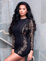 Black Party Dresses Lace Long Sleeve Round Neck Criss Cross Sexy Bodycon Dress For Women 4292