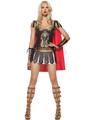 Roman Warrior Costume Leather Women Dark Brown Cosplay Jumper Dress With Cloak And Armwear Halloween 4292