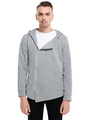 Full Zip Hoodie Grey Sweatshirt Hooded Long Sleeve Zip Up Casual Top 4292