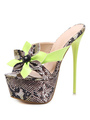 Women Slides Green Snakeskin Two Tone PU Upper Stiletto High Heel Women Slip On Shoes 4292