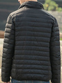 Quilted Down Jacket Black Lightweight Men's Zip Up Padded Puffer Jacket For Winter 4292