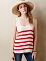 Women's Red Tank U Neck Back Tie Cut Out Striped Chic Sleeveless Top 4292
