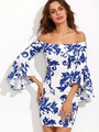 White Bodycon Dress Off The Shoulder Bell 3/4 Length Sleeve Printed Slim Fit Sheath Dress 4292