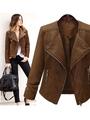 Short Brown Jacket Women's PU Leather Long Sleeve Zippers Deco Moto Jacket 4292
