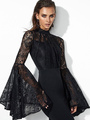 Black Party Dress Lace Crewneck Bell Sleeve Bodycon Dress For Women 4292