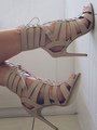 Apricot Gladiator Sandals High Heel Sandals Women Open Toe Lace Up Ankle Strap Sandal Shoes 4292