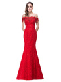 Maxi Lace Dress Off The Shoulder Slim Fit Red Long Party Dress For Women 4292