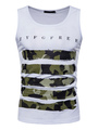 Men Tank Top Stripe Camo Print Cotton Sleeveless Top 4292