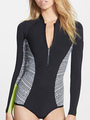 One Piece Swimsuit Black Long Sleeve Athletic Wome Beach Surfing Swimsuit 4292