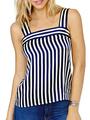 Women Tank Top Striped Sleeveless Deep Blue Summer Top 4292