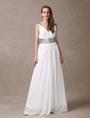 Attractive Ivory Chiffon Deep V-neck Maternity Bridesmaid Dress 4292