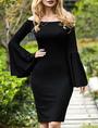 Black Bodycon Dress Off The Shoulder Bell Long Sleeve Slim Fit Sheath Dress 4292