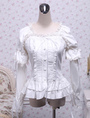White Cotton Lolita Blouse Long Sleeves Square Neck Lace Trim Layered Ruffles Lace Bow 4292