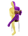 Purple Yellow Lycra Spandex Full Body Zentai Suit Halloween 4292