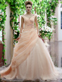 Nude Wedding Dress Organza V Neck Bridal Gown Off The Shoulder Ruched Ball Gown Bridal Dress With Court Train 4292