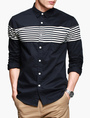 Cool Blue Stripe Long Sleeves Spread Neck Casual Shirt For Men 4292