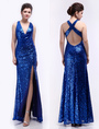 Modern Royal Blue V-Neck Sequin Mermaid Sequined Prom Dress 4292