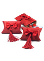 Red Wedding Favors Pillow Shape Bow Fringe Paper Wedding box 4292