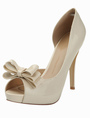 Gorgeous Nude Stiletto Heel Bow Patent PU Upper Peep Toe High Heels 4292