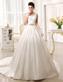 Chapel Train Ivory Bridal Wedding Gown with V-Neck A-line Rhinestone  Milanoo 4292