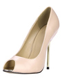 Nude PU Leather Fabulous Peep Toe Stiletto Heel Shoes 4292