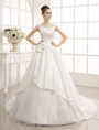 Ivory Sweep Pearls Beaded Wedding Dress with Bateau Neck Milanoo 4292