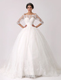 Off the Shoulder Princess Lace Wedding Dress with Illusion Neckline Milanoo 4292