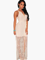 V-Neck Cut Out Sleeveless Semi-Sheer Lace-up Maxi Dress 4292