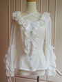 Pure White Chiffon Lolita Blouse Long Hime Sleeves Neck Straps Lace Trim Ruffles 4292