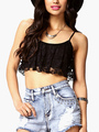Sleeveless Ruffled Lace Crop Top 4292