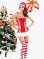 Stripe Strapless 2-Piece Velour Women's Bedroom Costume 4292