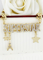 Gold Rhinestone Star Alloy Necklace for Women 4292