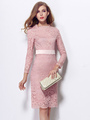 Pink Slim Lace Party Dress for Women 4292