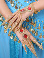Belly Dance Costume Gold Synthetic Bollywood Dancing Nail Warp for Women 4292