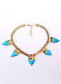 Blue Gold Triangle Alloy Necklace for Women 4292