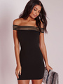 Black Stripes Off-Shoulder Cotton Bodycon Dress for Women 4292